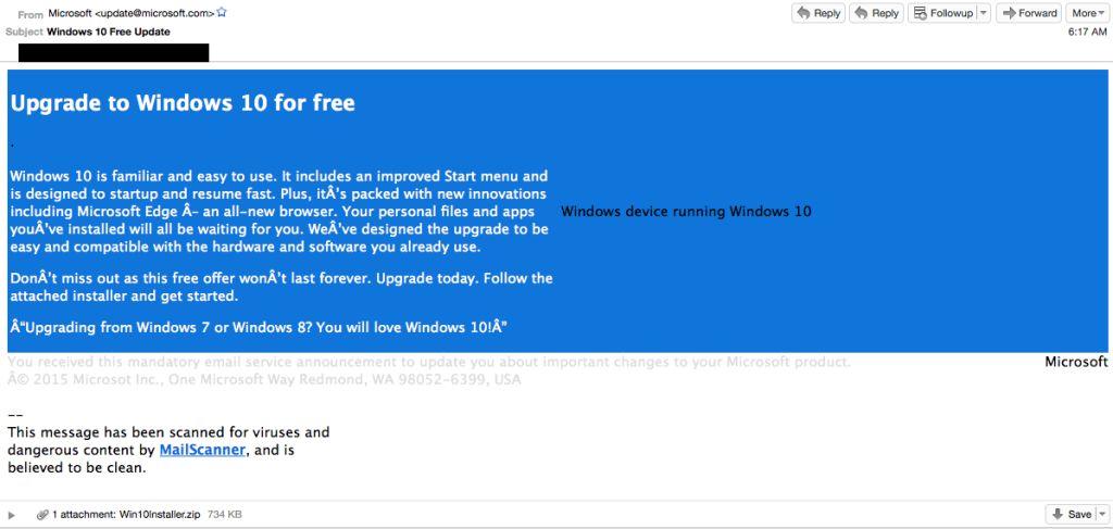 Письмо обновление Windows 10