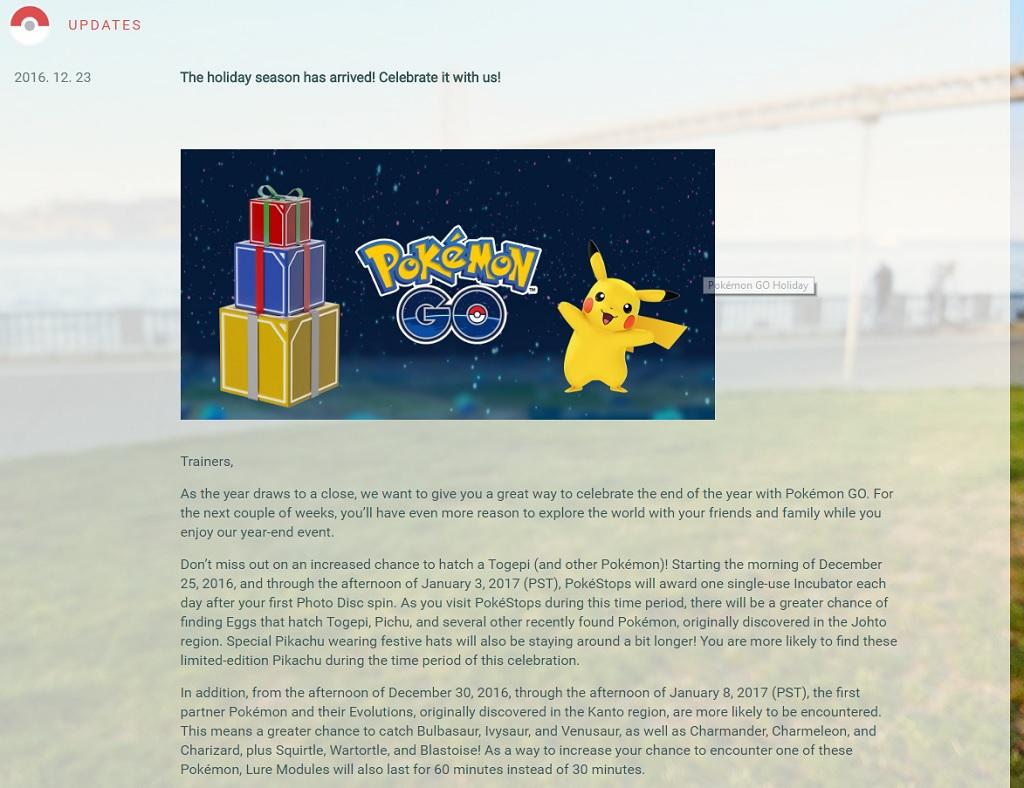 Описание новогоднего эвента Pokemon GO