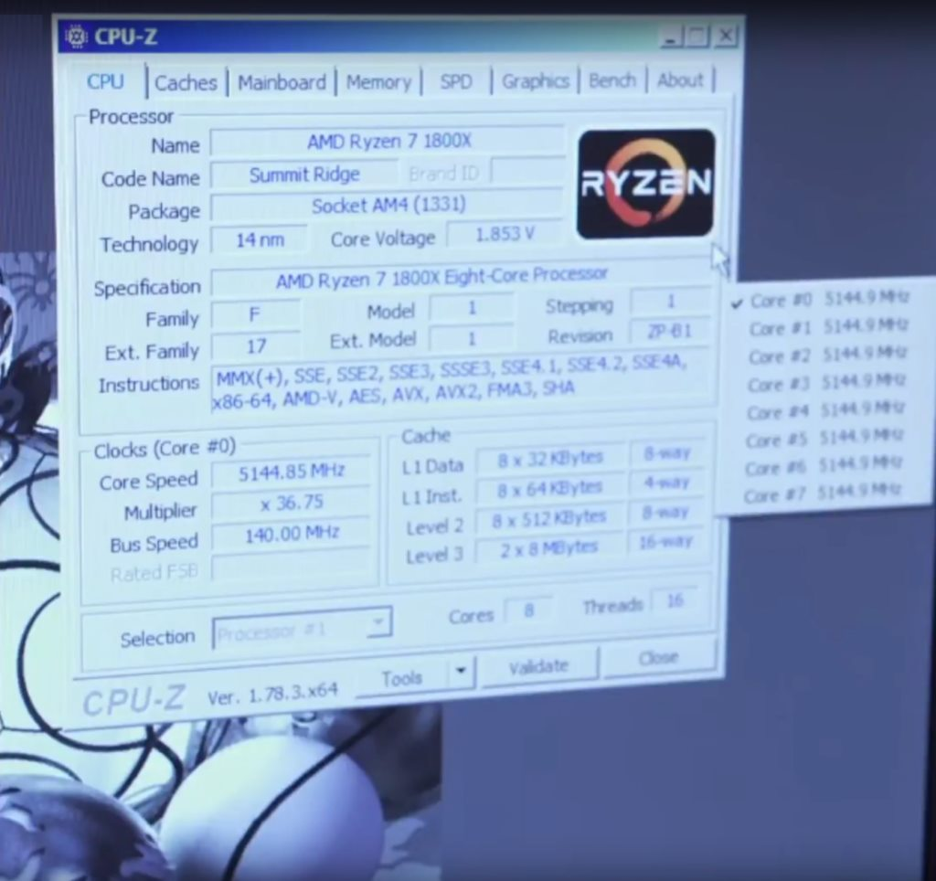 Скриншот разгона Ryzen 7 1800X