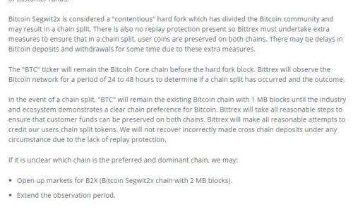 Bittrex обозначил свою позицию в отношении SegWit2x