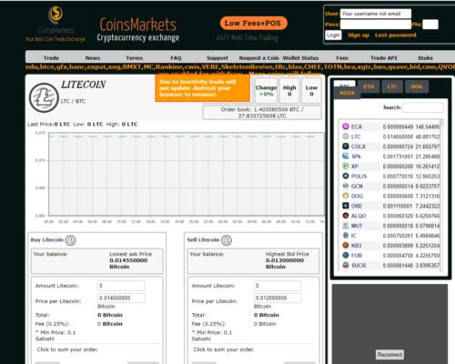 График вывода монет с Coinsmarkets - обновляемая таблица