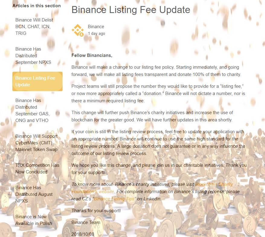 Биржа Binance изменила свои требования к плате за листинг